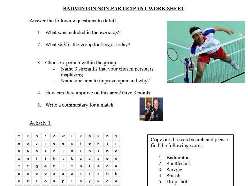 Badminton Non-Participant Worksheet