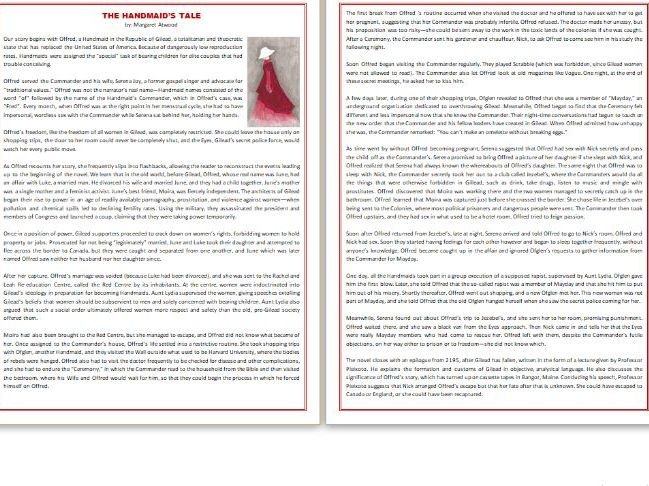 The Handmaid's Tale by Margaret Atwood - IGCSE Reading Comprehension