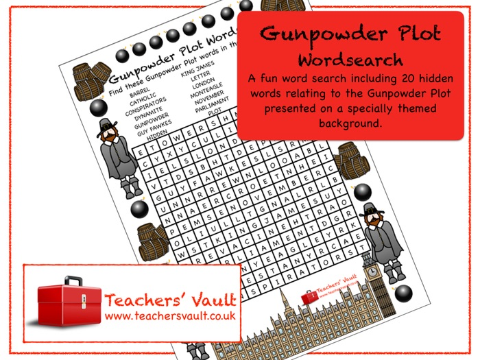 Gunpowder Plot Wordsearch