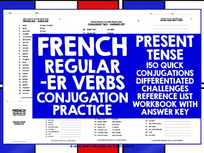 FRENCH ER VERBS PRESENT TENSE CONJUGATION PRACTICE