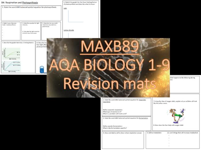 GCSE 9-1 Revision Biology AQA  Unit 4 Revision Mats