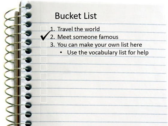 Bucket List Lesson for KS2/KS3/EAL/ESL learners.