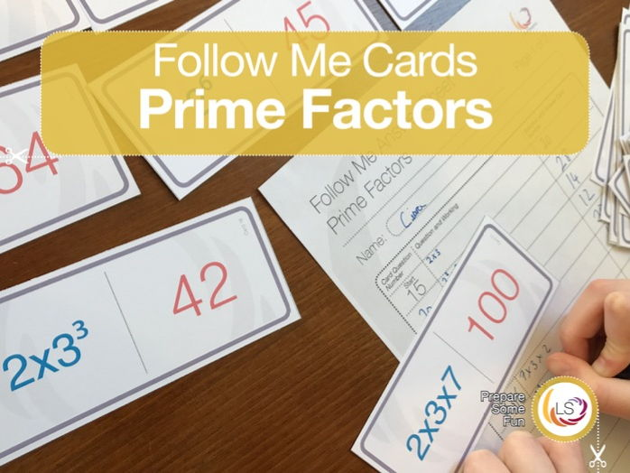 Prime Factors Follow-Me Cards - a game on Prime Factors in Indices form