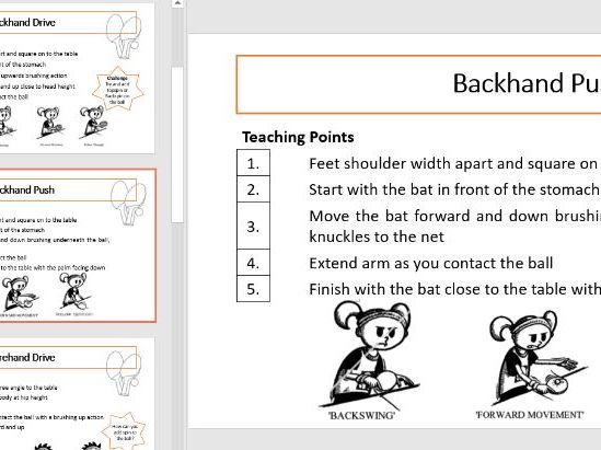 Table Tennis Task Cards