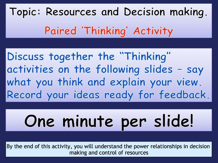 Power relationships in decision making and control of resources.