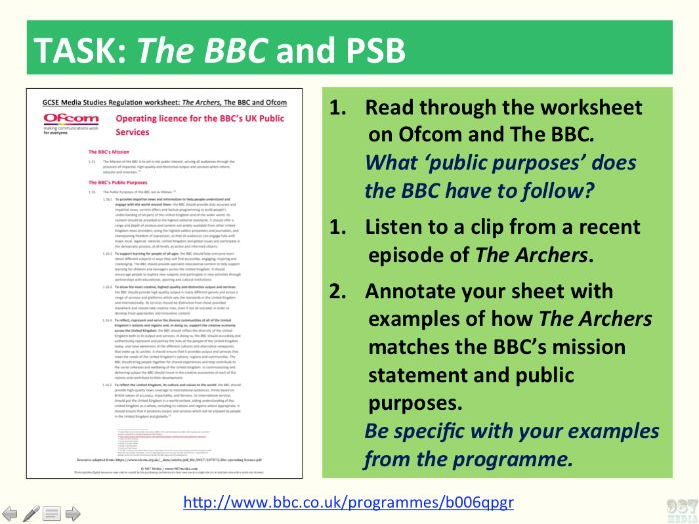 9-1 GCSE Media Studies Print Analysis lesson 4 (The Archers, the radio industry and regulation-C1SB)