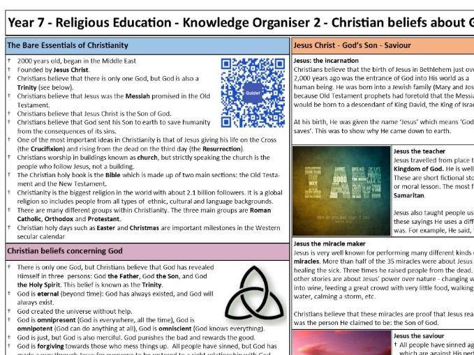 KS3 RE Knowledge Organiser & Test: Christian beliefs about God
