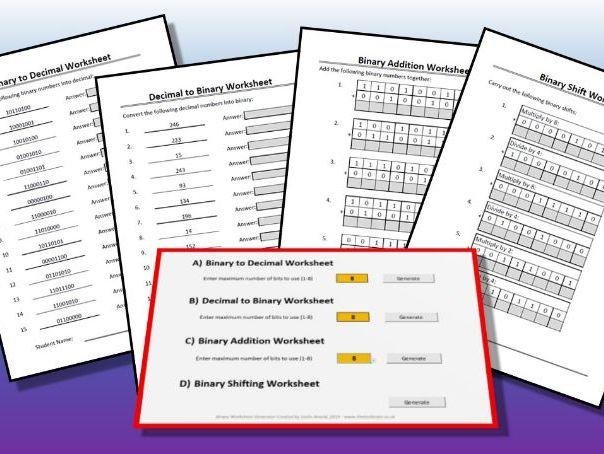 Binary Worksheet Generator