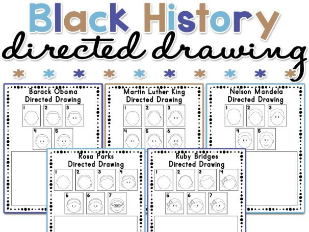 Black History Month Directed Drawing Activity Worksheets
