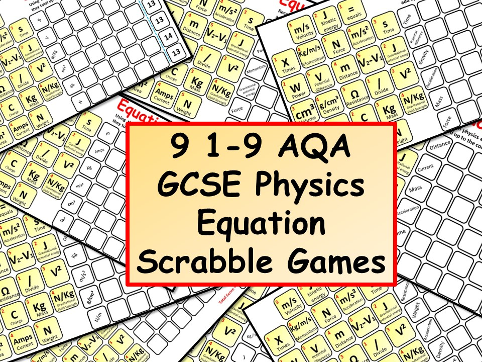 9 1-9 AQA GCSE Physics (Science) Equation Scrabble Games
