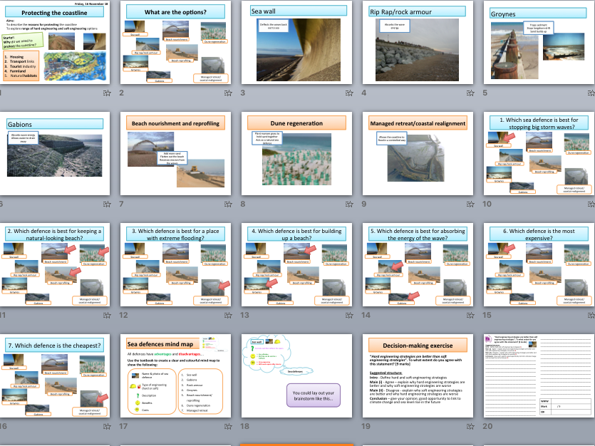 Coastal sea defences (hard & soft engineering) - key definitions, mind map activity and 9 mark essay