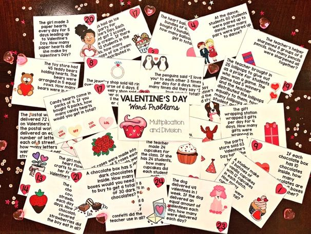 VALENTINE'S DAY WORD PROBLEM CARDS: Multiplication and Division Set