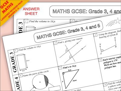 GCSE Maths Revision Pack: Grade 3-5 Algebra and Geometry Bundle