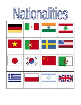 Nationalities in English Bingo game