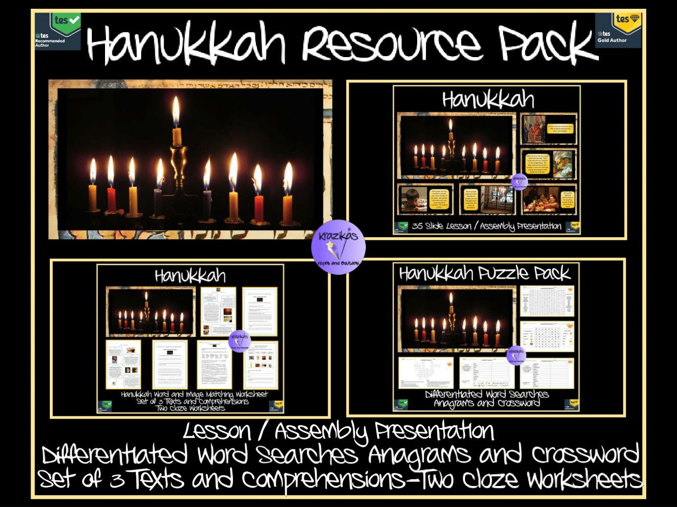 Hanukkah Resource Pack - PowerPoint, Texts, Comprehensions, Worksheets and Puzzles
