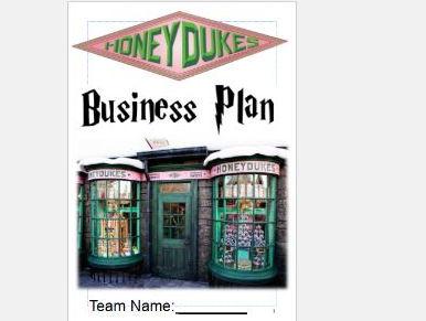 Cross-curricular- maths, IT, art, DT. Harry Potter sweet shop business booklet.