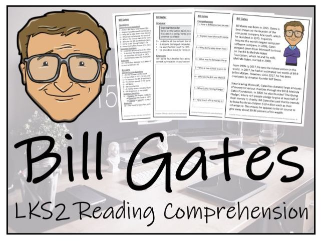 LKS2 Bill Gates Reading Comprehension Activity