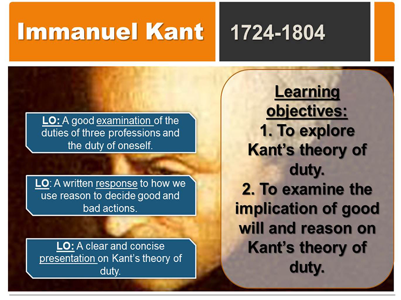 Kant's theory of duty: Kant's ideas of the moral law, good will and summum bonum