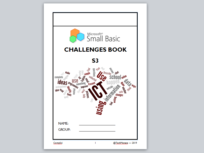 Small Basic Challenge book including cheat sheet - plenary / summarive assessment