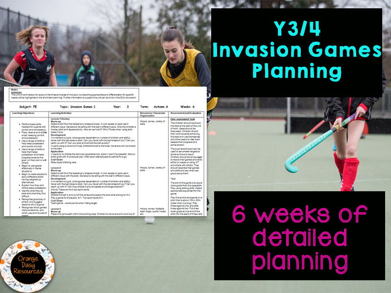 1 page Invasion Games Planning - Lower KS2 (Y3 / Y4) - 6 weeks