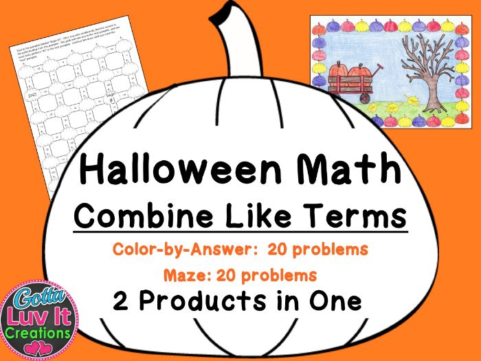 Halloween Math - Combine Like Terms Simplify Expressions