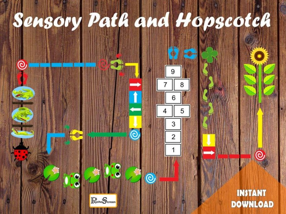 Colorful Floor Sensory Path Set, Printable floor design for Nursery School, Home...