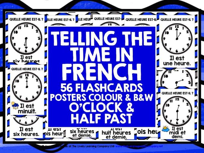 FRENCH TELLING TIME FLASHCARDS POSTERS