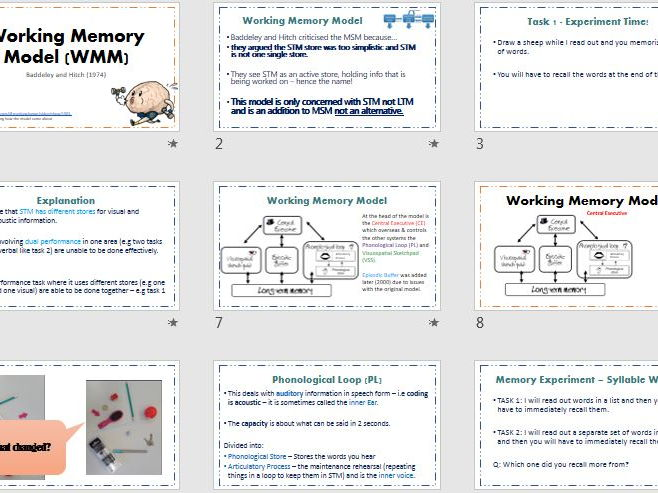 WORKING MEMORY MODEL - AQA Psychology (new spec) - Full Lesson activities, ppt & exam Questions