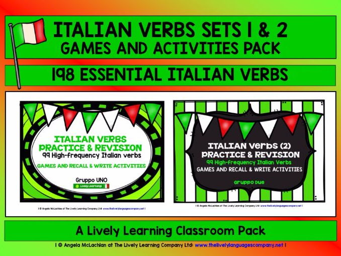 ITALIAN VERBS SETS 1 & 2 - GAMES & ACTIVITIES - 198 HIGH-FREQUENCY VERBS