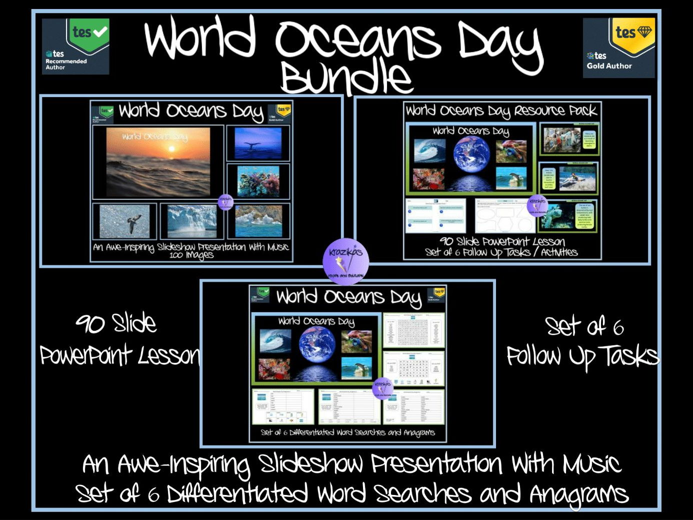 World Oceans Day Bundle - Two PowerPoint Presentations, Set of 6 Follow-Up Tasks / Activities, Set of 6 Differentiated Word searches and Anagrams