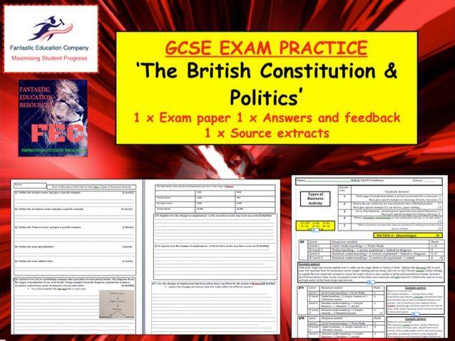 British constitution GCSE CITIZENSHIP ASSESSMENT  / TEST