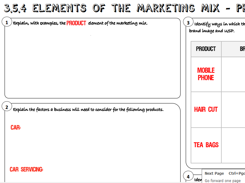 AQA GCSE Business (9-1) 3.5.4 Elements of the Marketing Mix - Product Learning Mat / Revision