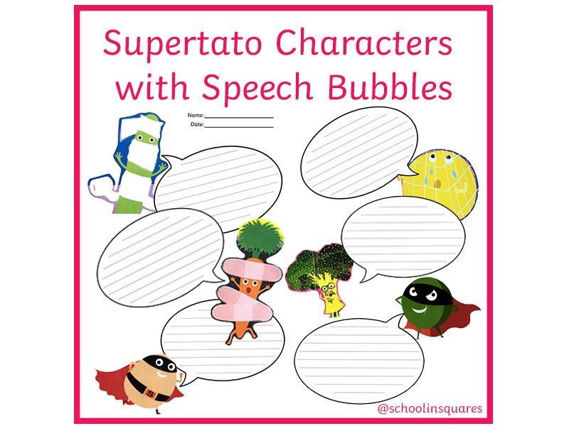 EYFS/KS1 Supertato Characters with Speech Bubbles