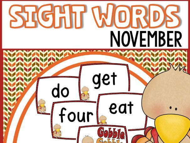 Turkey Sight Words Flash Cards and Game