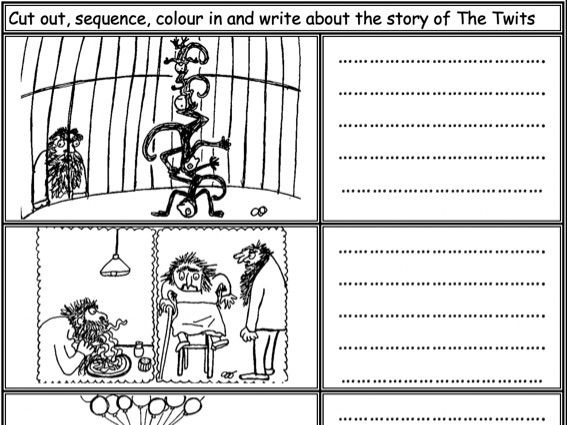 The Twits: Cut, sequence, colour and write about the story KS1 KS2