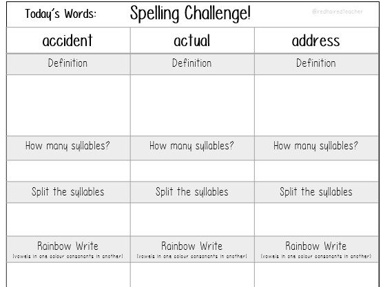 Year 3-4 Spellings - three a day spelling activity sheets!