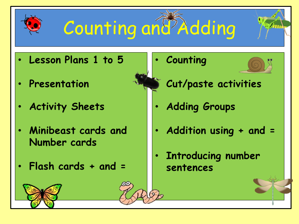 minibeasts counting and progression