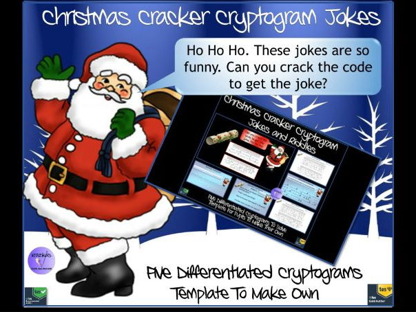 Christmas Cracker Cryptogram Jokes - Set of 5 Differentiated Jokes To Solve and Template To Make Own