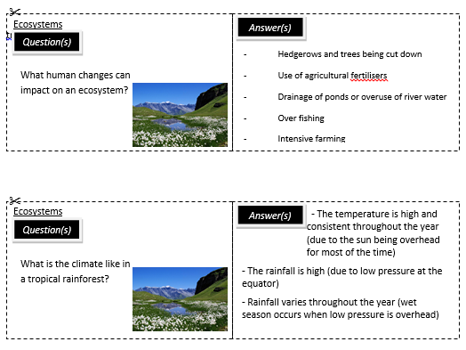 New AQA  Geography revision cards