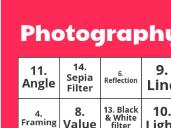 Photography Bingo