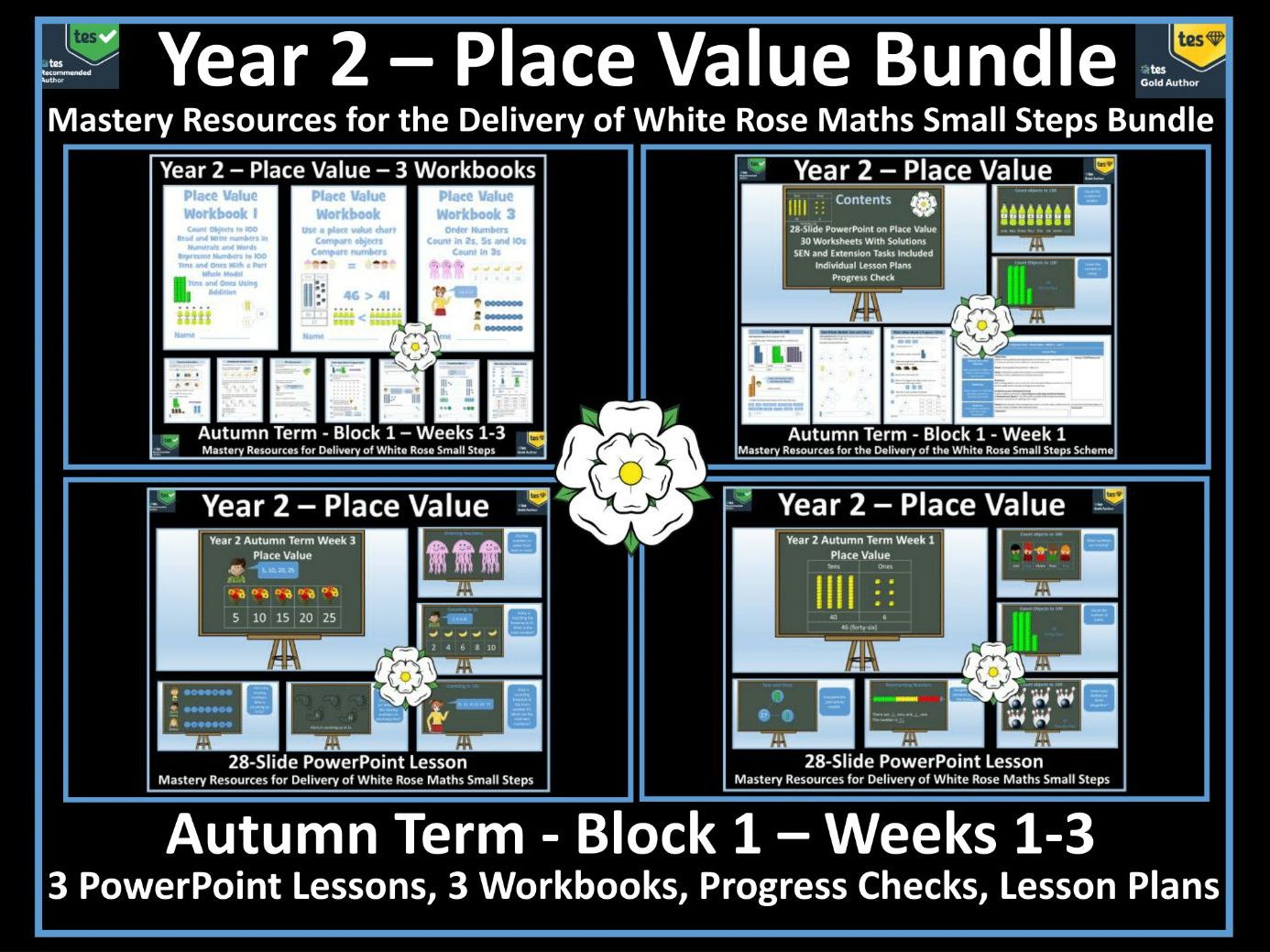 Place Value Bundle: 3 Workbooks and 3 PowerPoint Lessons for White Rose Year 2 Autumn Term weeks 1 - 3