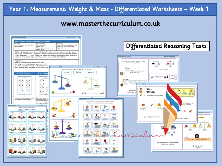 Year 1 - Weight and Mass Differentiated Worksheets