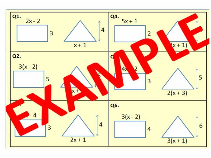 Forming and Solving Equations when given SIDE LENGTHS and AREA of TWO SHAPES in ALGEBRA