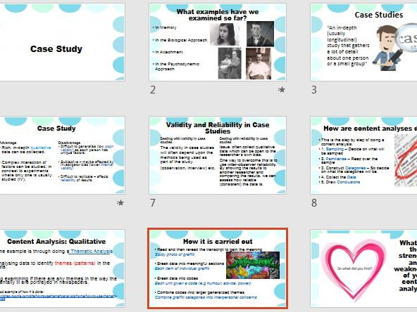 Case Studies & Content Analysis - A2 Recap Revision - AQA Psychology Research Methods