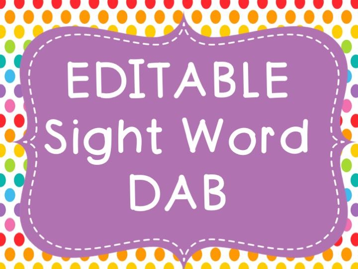 Sight Word DAB (EDITABLE)