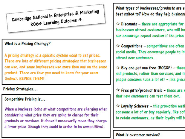 R064 - LO4 Completed Knowledge Organiser (Revision) - Cambridge National in Enterprise & Marketing