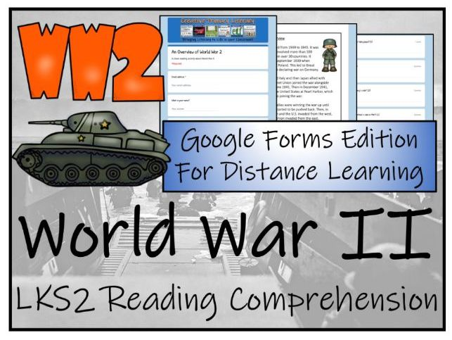 LKS2 World War 2 Reading Comprehension & Distance Learning Activity
