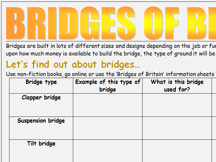 Bridges of Britain Geography KS2 research worksheets (2)