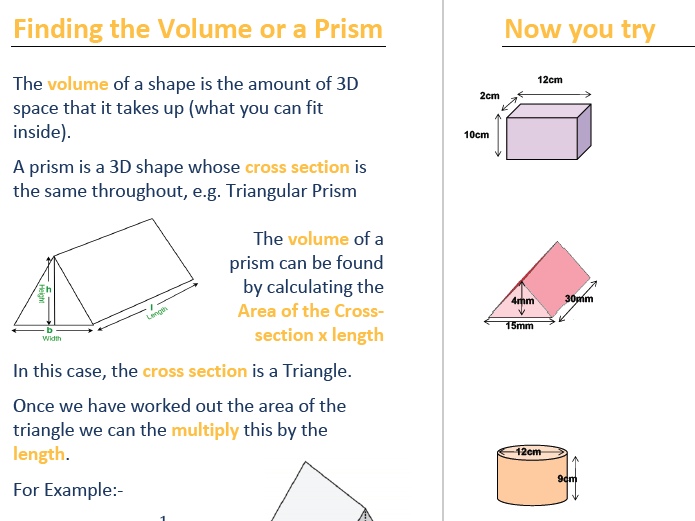 3d Shapes, Properties, Volume and Surface Area