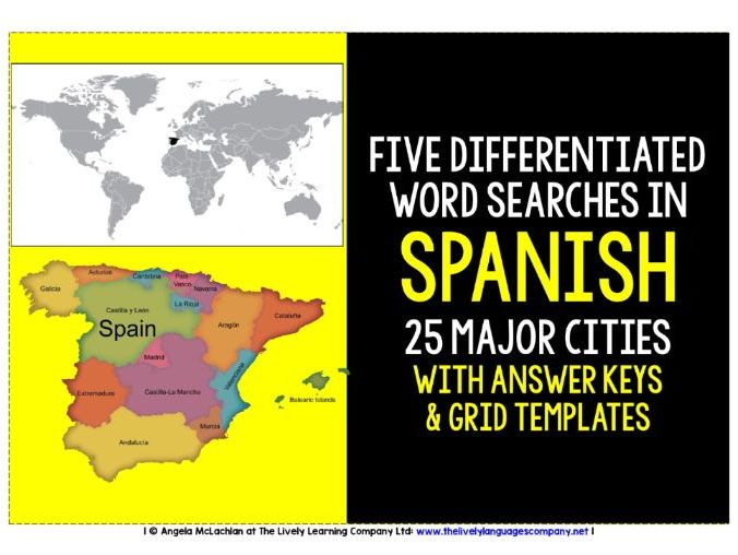 SPANISH CITIES - FIVE DIFFERENTIATED WORD SEARCHES WITH ANSWER KEY AND TEMPLATE